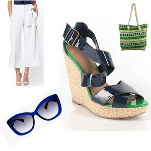 XHILARATION Blue Green Strappy Wedges Shoes